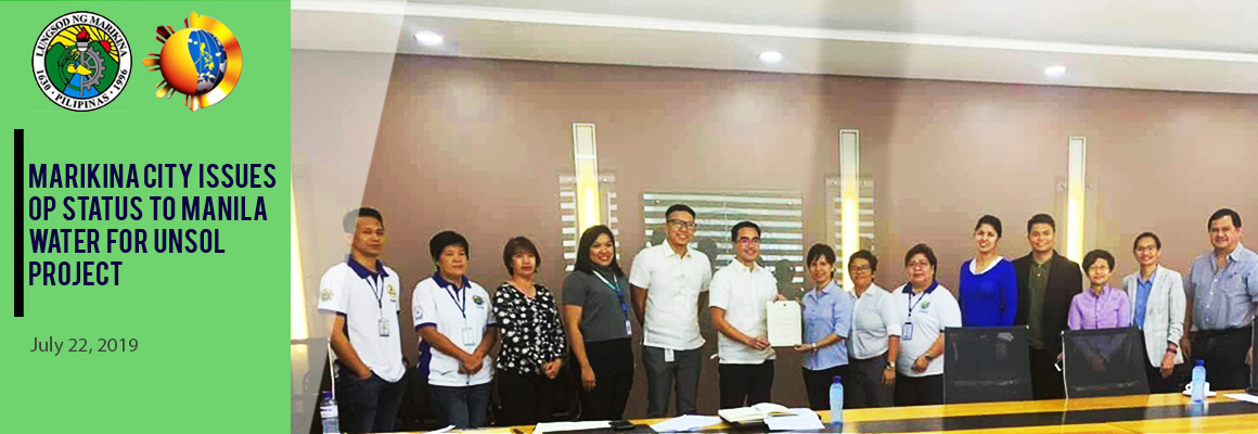 Marikina issues OP status to Manila Water for unsol project